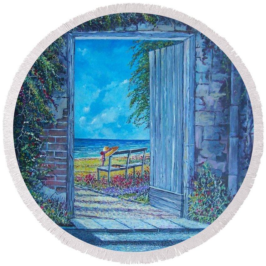 Original Painting Round Beach Towel featuring the painting Doorway To ... by Sinisa Saratlic