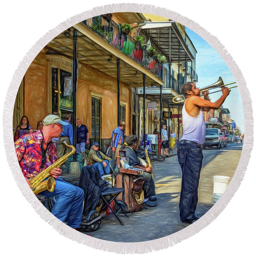 French Quarter Round Beach Towel featuring the photograph Doreen's Jazz New Orleans - Paint by Steve Harrington
