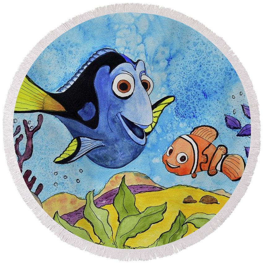 Linda Brody Round Beach Towel featuring the painting Dori And Nemo by Linda Brody