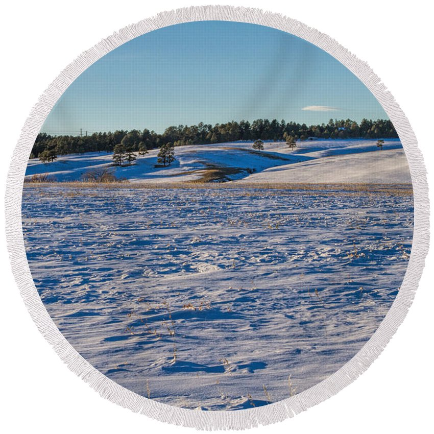 Winter Round Beach Towel featuring the photograph Dormant by Alana Thrower