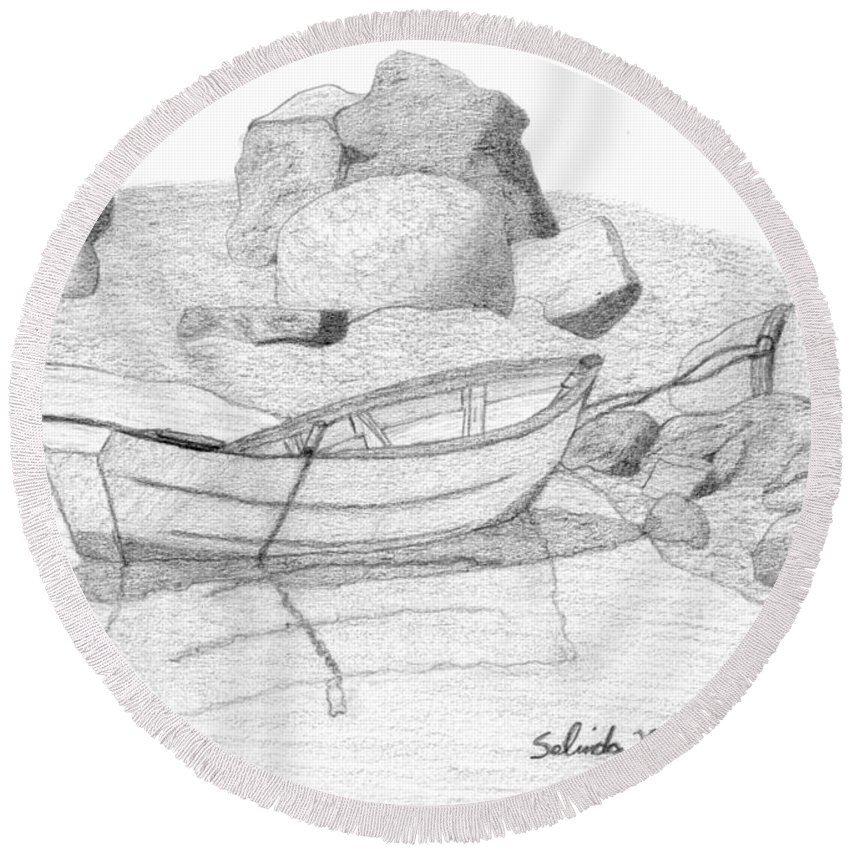 Selinda Round Beach Towel featuring the drawing Dory In The Cove by Selinda Van Horn