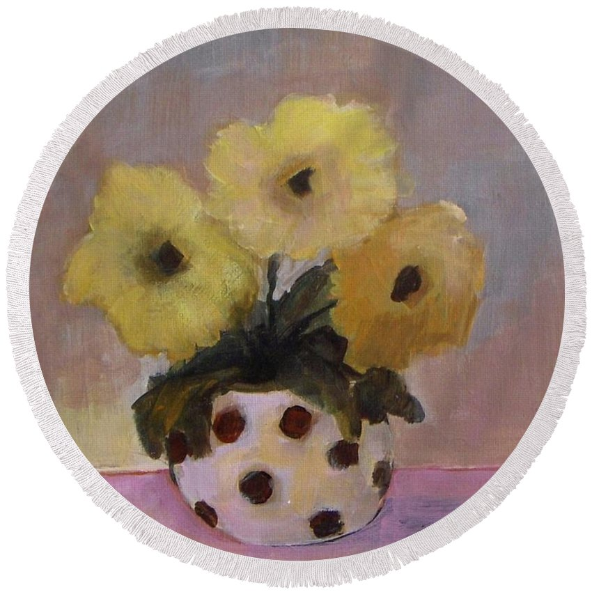 Dotted Round Beach Towel featuring the painting Dotted Vase With Yellow Flowers by Vesna Antic