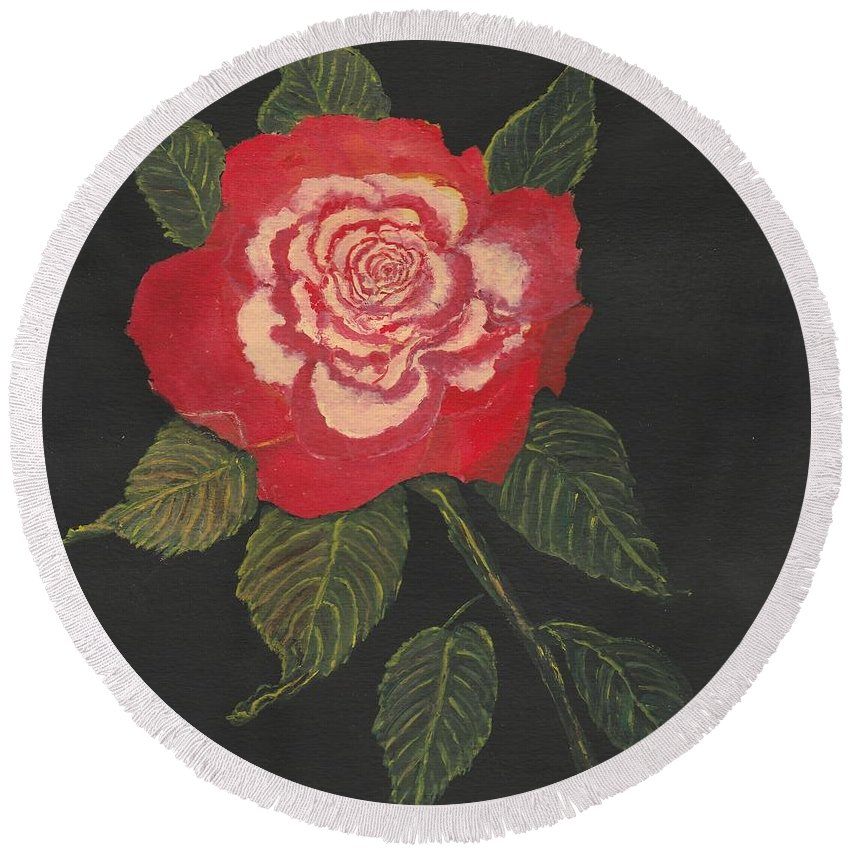 Double Delight Rose Painting Round Beach Towel featuring the painting Double Delight Rose by Regina Taormino