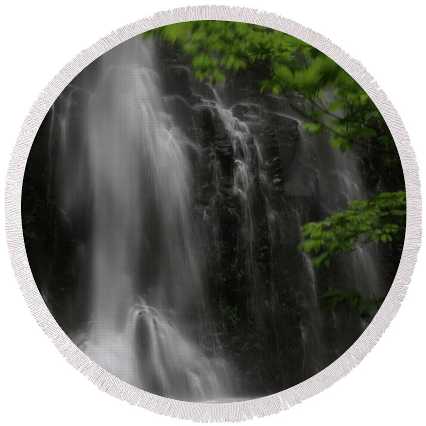 Waterfall Round Beach Towel featuring the photograph Double Falls by Laddie Halupa