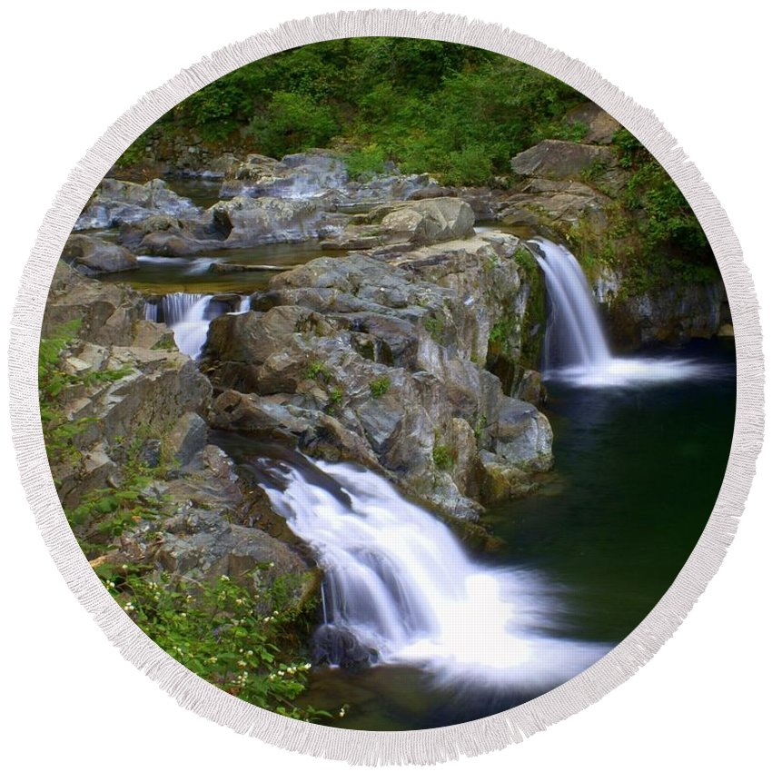 Waterfalls Round Beach Towel featuring the photograph Double Falls by Marty Koch