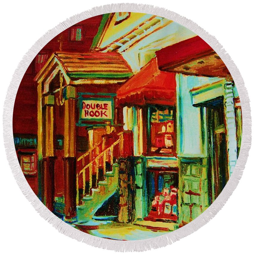 Double Hook Bookstore Round Beach Towel featuring the painting Double Hook Book Nook by Carole Spandau