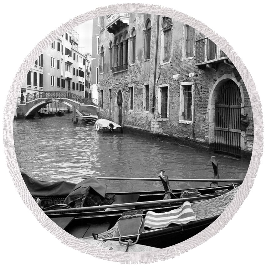 Venice Round Beach Towel featuring the photograph Double Parked by Donna Corless