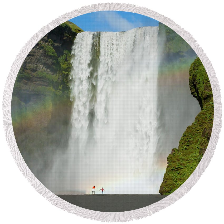 Iceland Round Beach Towel featuring the photograph Double Rainbow By Skogafoss Waterfall by Anthony Doudt