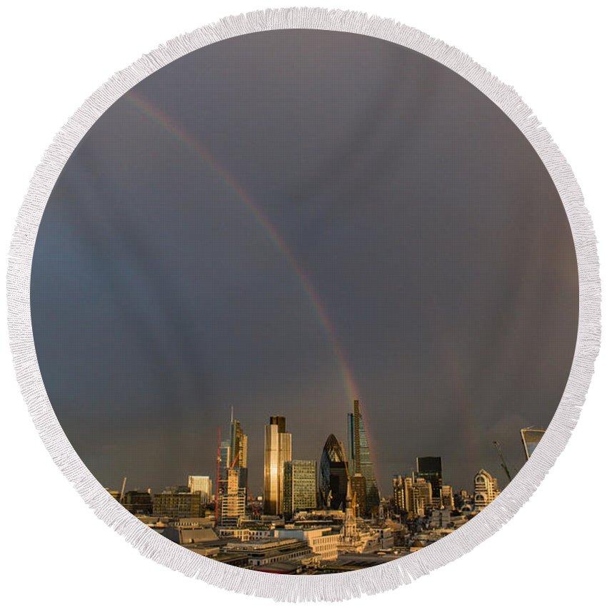 Rainbow Round Beach Towel featuring the photograph Double Rainbow Over The City Of London by Gary Eason