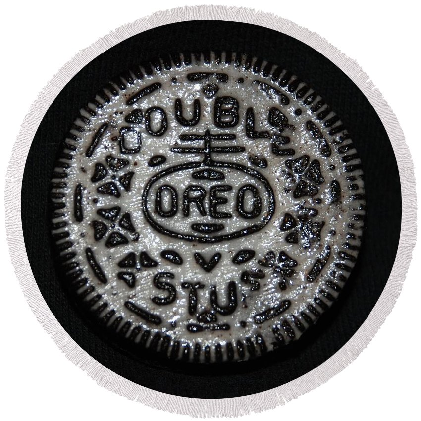 Oreo Round Beach Towel featuring the photograph Double Stuff Oreo by Rob Hans