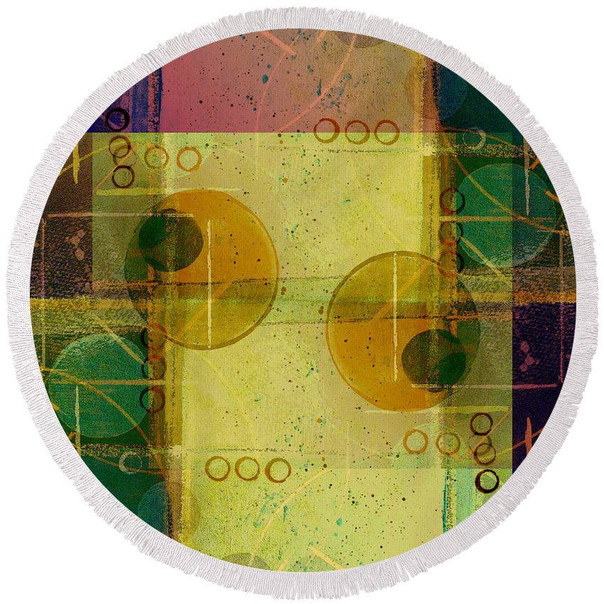 Abstract Round Beach Towel featuring the digital art Double Vision by Ruth Palmer