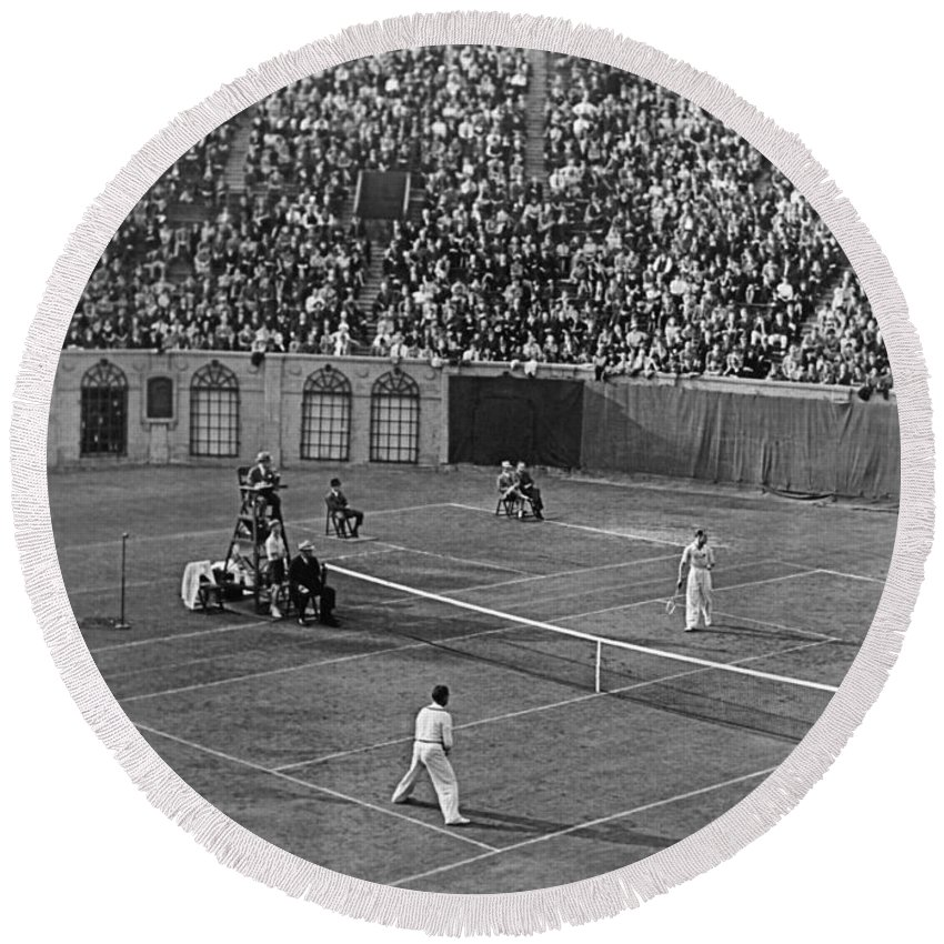 1930s Round Beach Towel featuring the photograph Doubles Tennis At Forest Hills by Underwood Archives