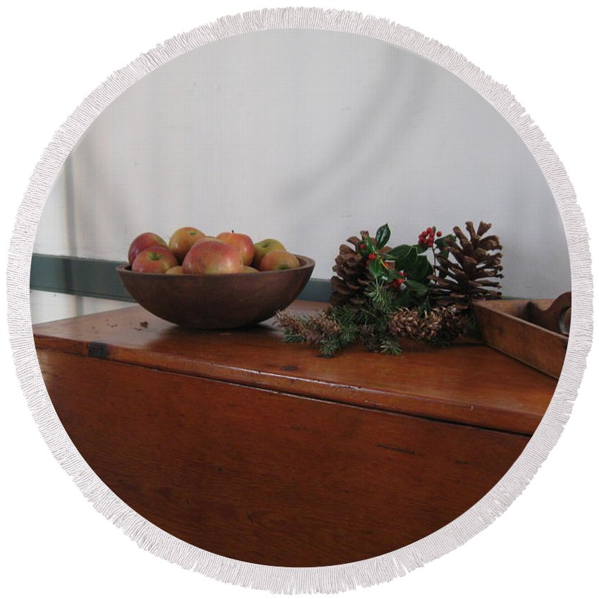 Wood Breadbox Round Beach Towel featuring the photograph Dough Box Table At Christmas by Nancy Patterson