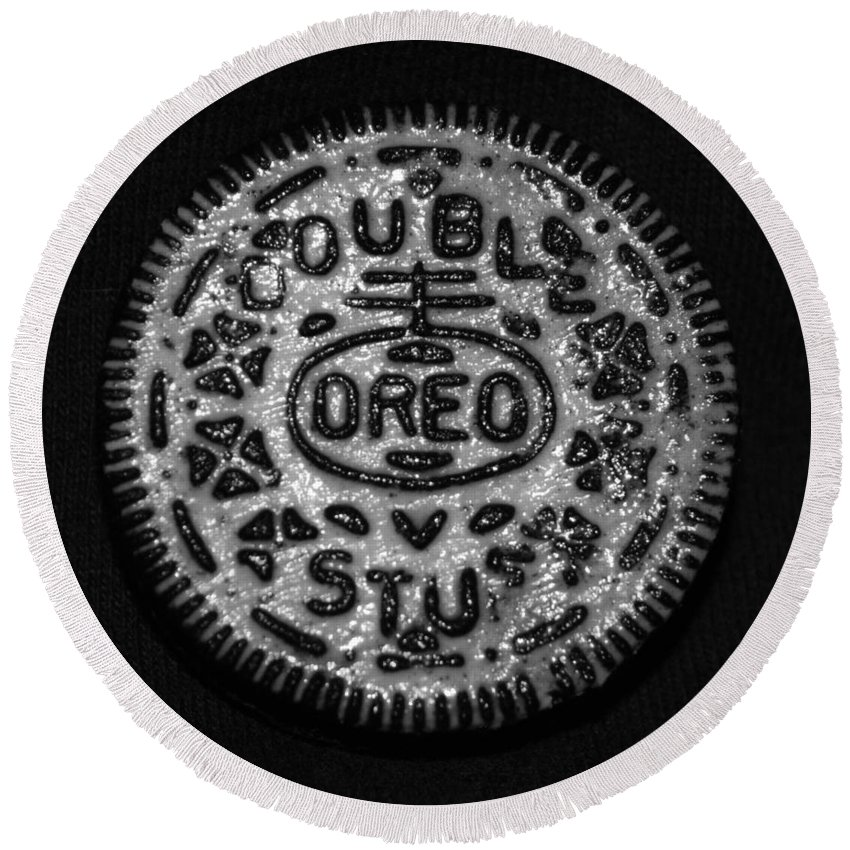 Oreo Round Beach Towel featuring the photograph Doulble Stuff Oreo In Black And White by Rob Hans