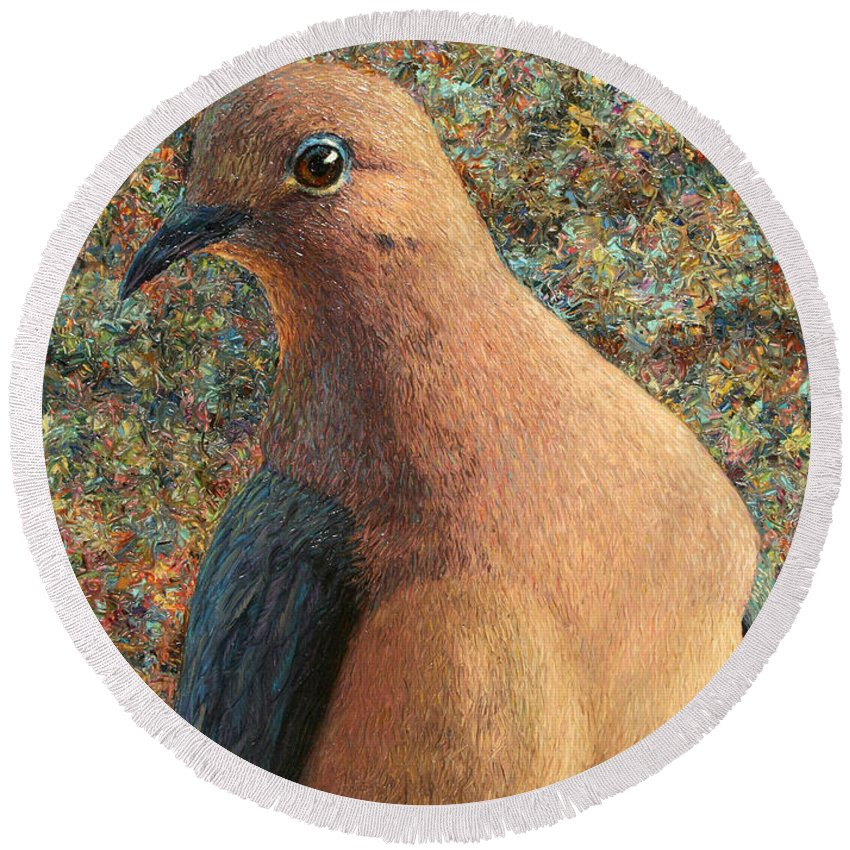 Dove Round Beach Towel featuring the painting Dove by James W Johnson