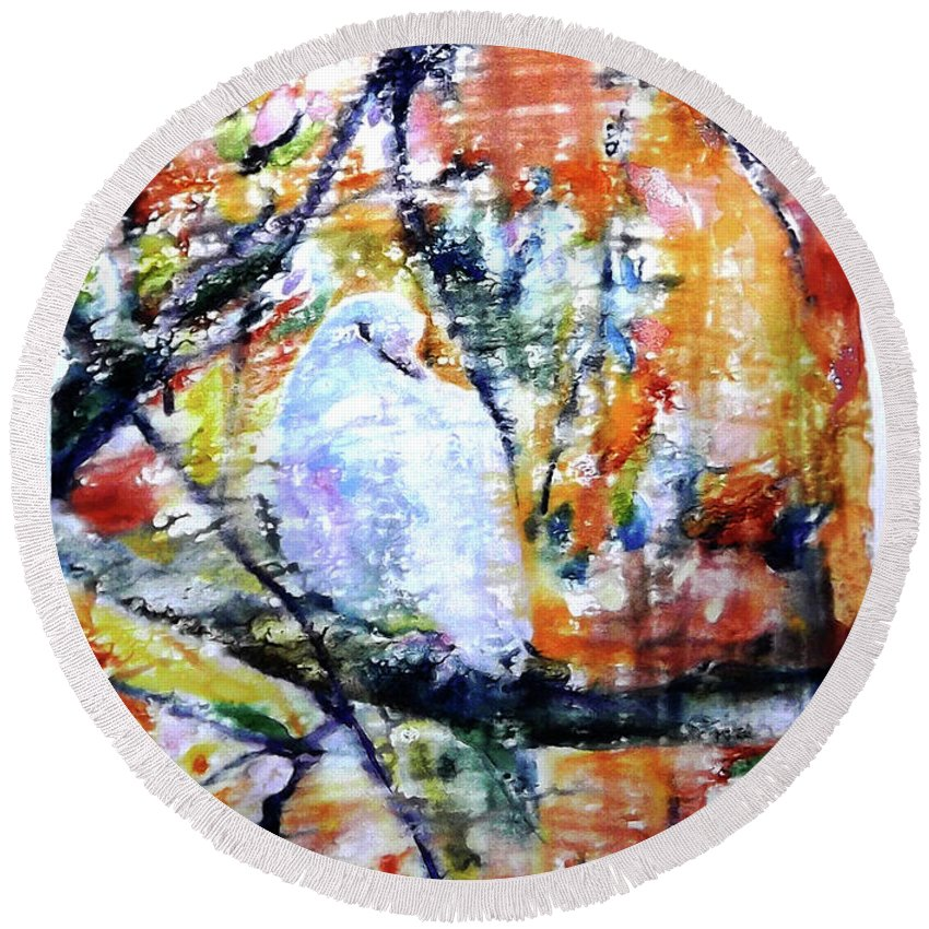 Dove Round Beach Towel featuring the painting Dove On The Yellow Tree by Jongdee Thongkam