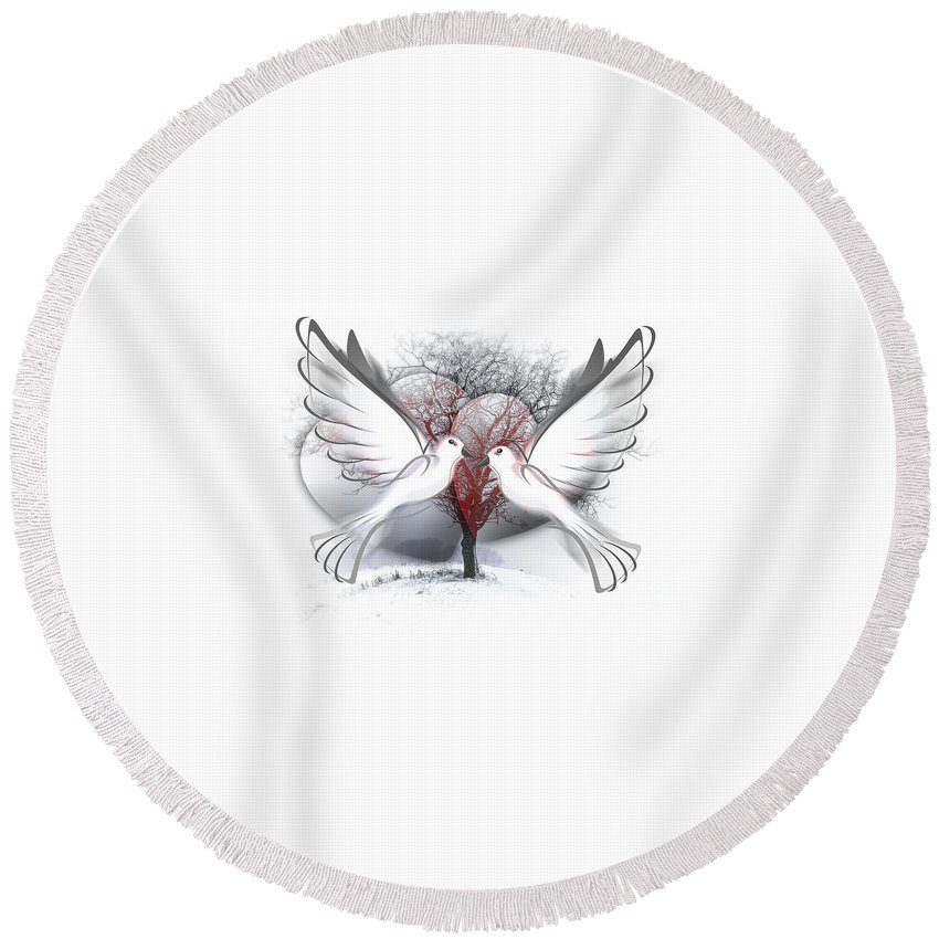 Animal Round Beach Towel featuring the digital art Doves Of Peace by Frederick Holiday