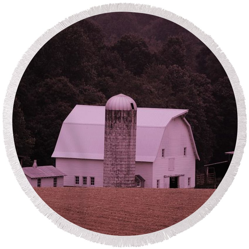 Barn Round Beach Towel featuring the photograph Down On The Farm by Eric Liller