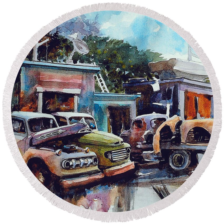 Trucks Round Beach Towel featuring the painting Down on the Lower Road by Ron Morrison