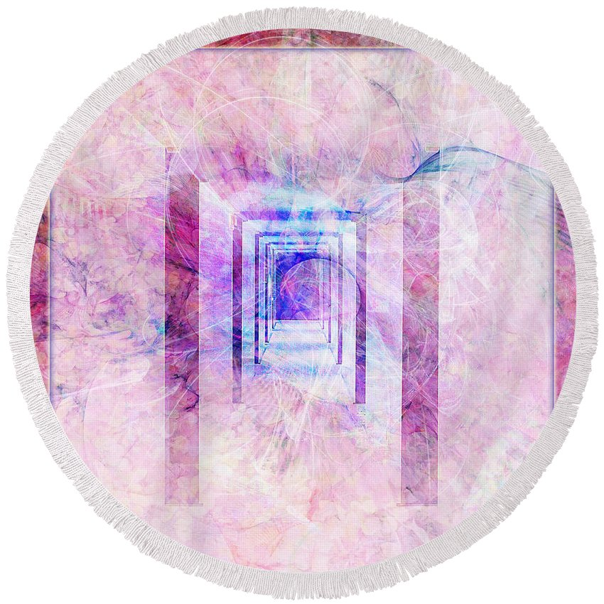 Pink Round Beach Towel featuring the digital art Down The Hall by Barbara Berney