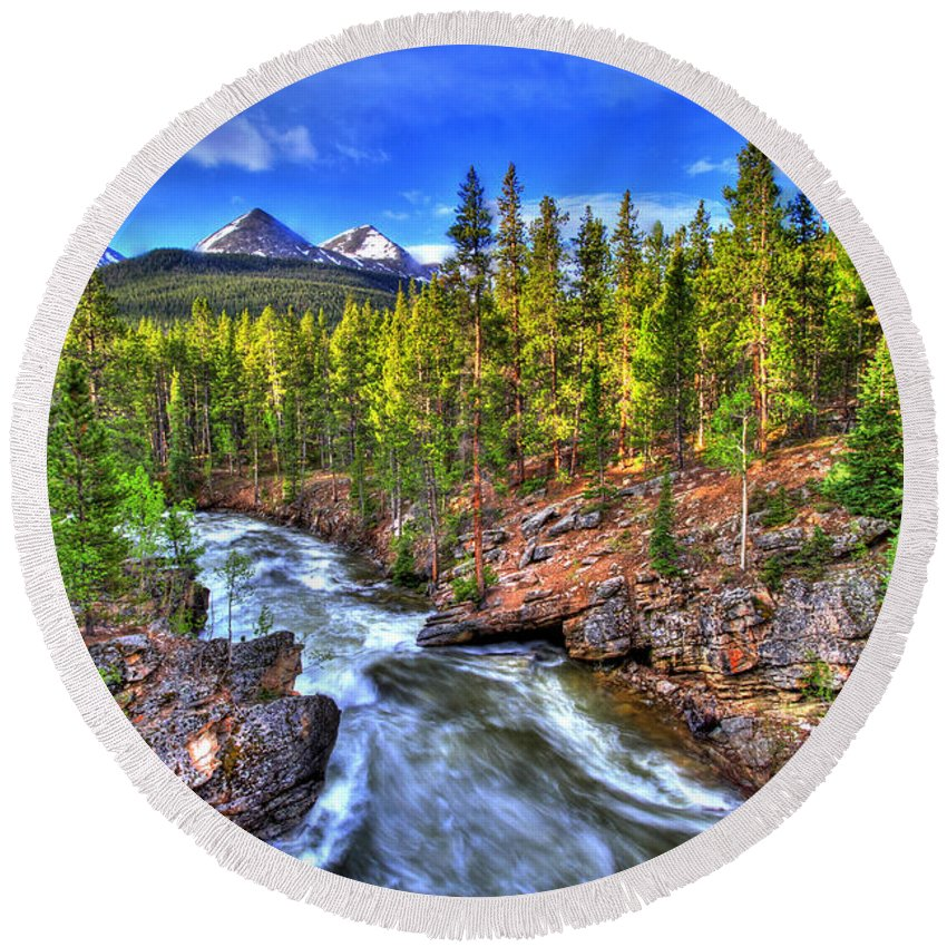 River Round Beach Towel featuring the photograph Down The River by Scott Mahon
