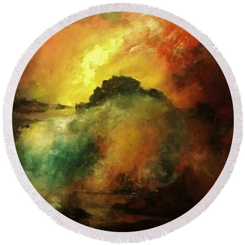 Acrylic Round Beach Towel featuring the painting Down To Earth by John Cocoris