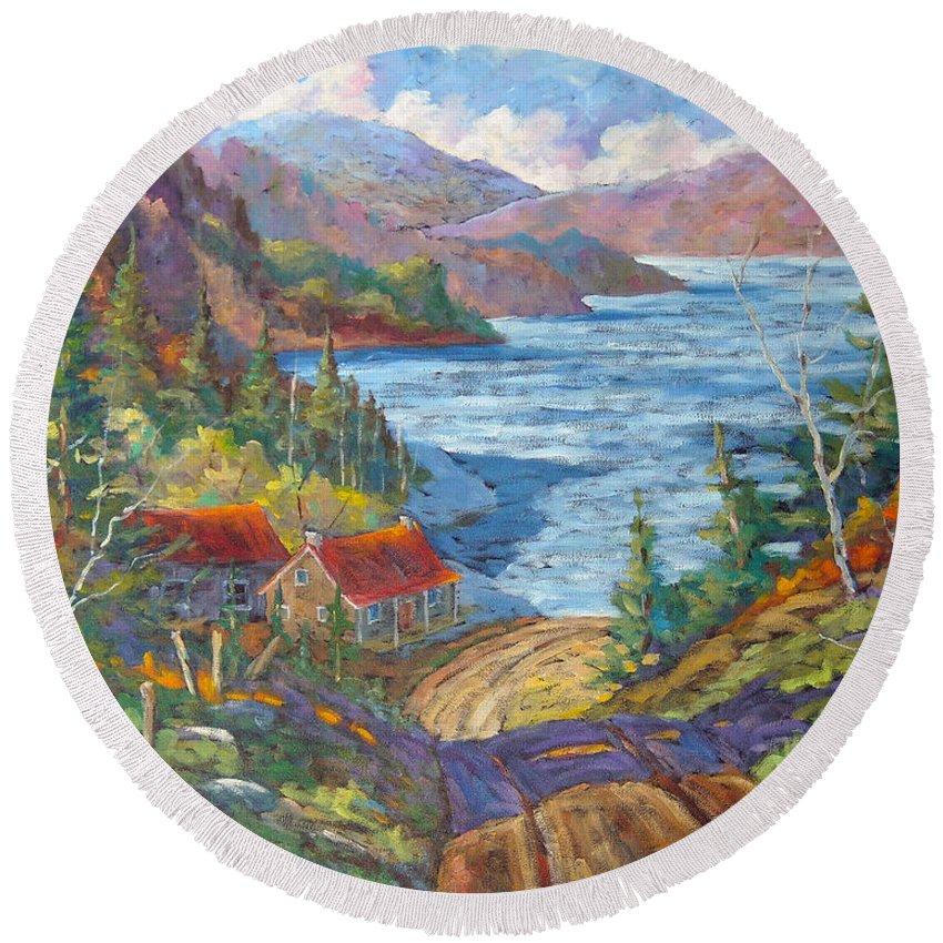 Landscape Round Beach Towel featuring the painting Down To The Lake by Richard T Pranke