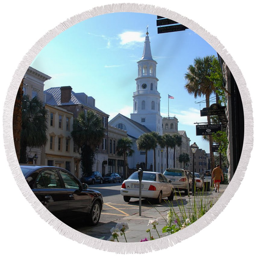 Photography Round Beach Towel featuring the photograph Down Town Charleston by Susanne Van Hulst
