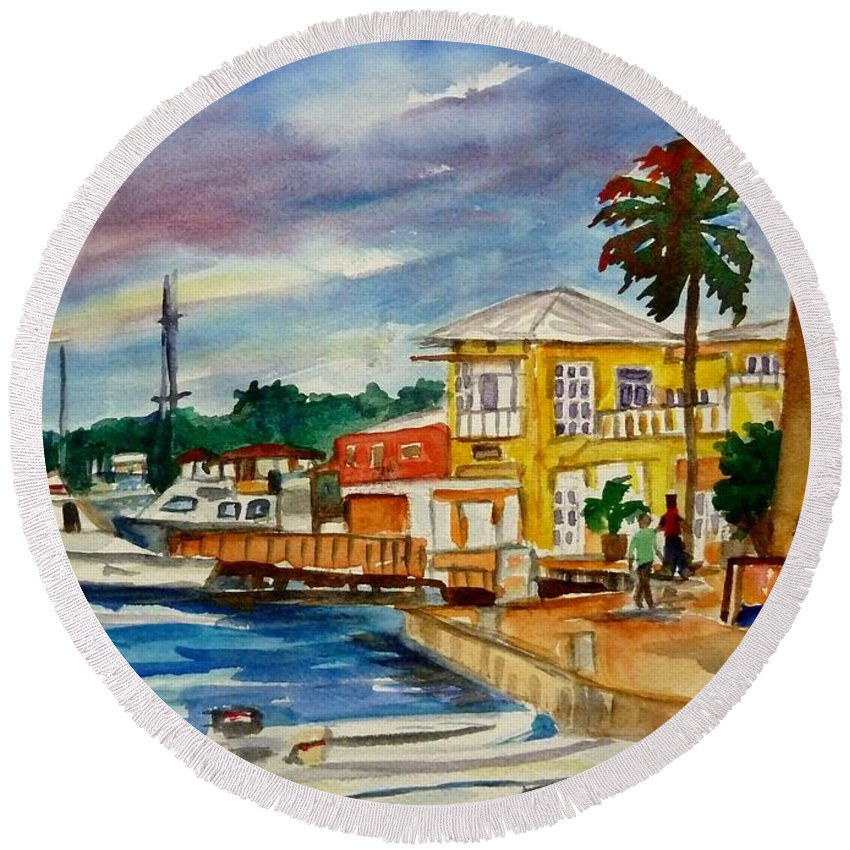 Landscape Round Beach Towel featuring the painting Down Town St Croix by Diane Elgin