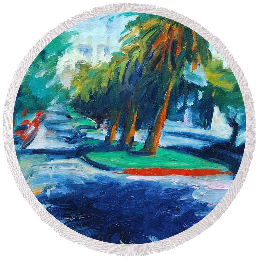 San Francisco Round Beach Towel featuring the painting Downhill by Rick Nederlof