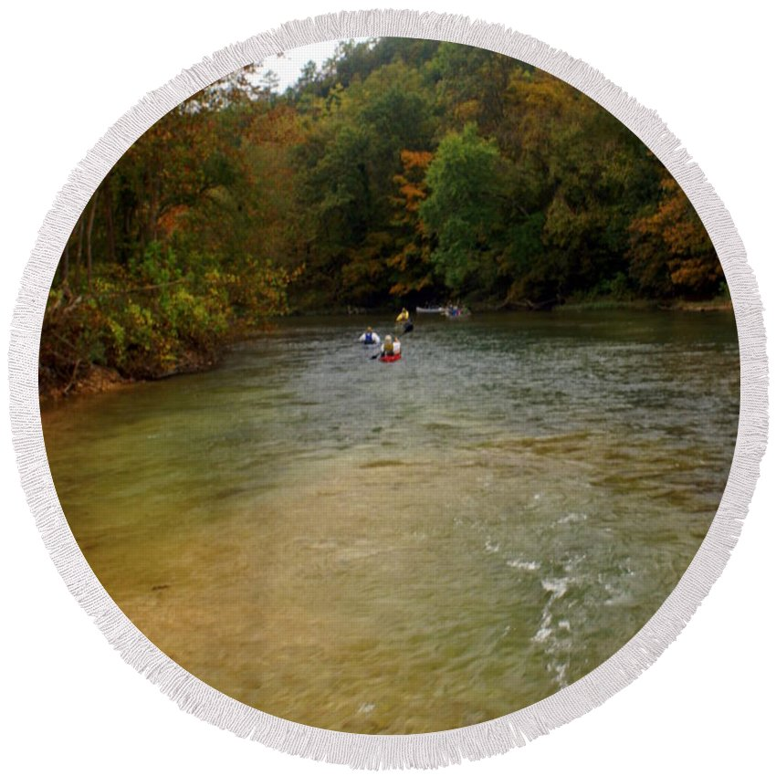 Current River Round Beach Towel featuring the photograph Downstream by Marty Koch