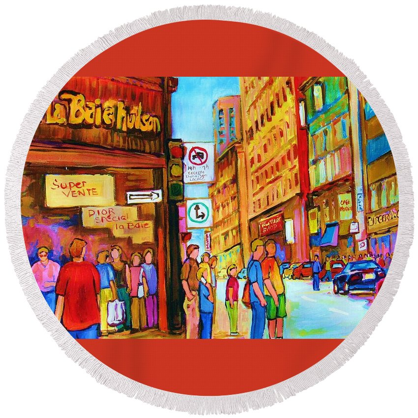 Cityscape Round Beach Towel featuring the painting Downtown by Carole Spandau