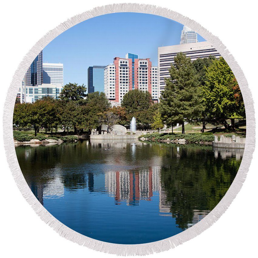 Charlotte Round Beach Towel featuring the photograph Downtown Charlotte North Carolina From Marshall Park by Bill Cobb