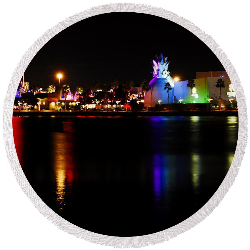 Downtown Disney Round Beach Towel featuring the photograph Downtown Disney by David Lee Thompson