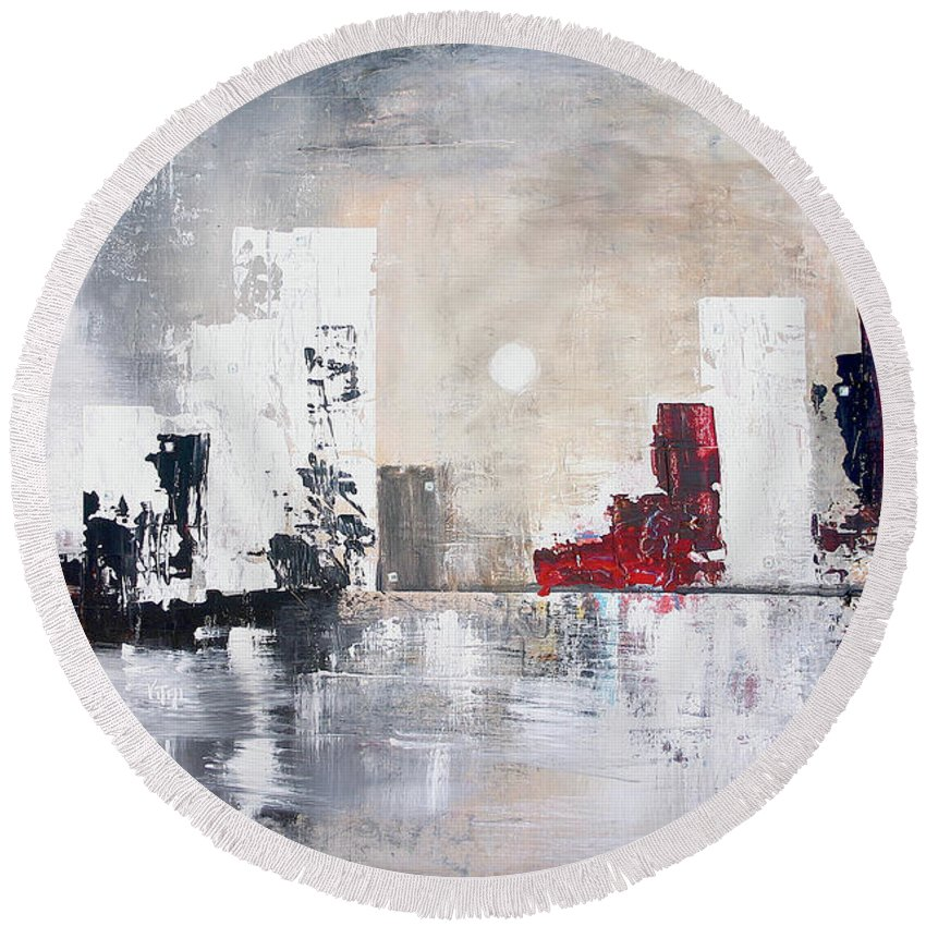 Cityscapes Round Beach Towel featuring the painting Downtown by Germaine Fine Art