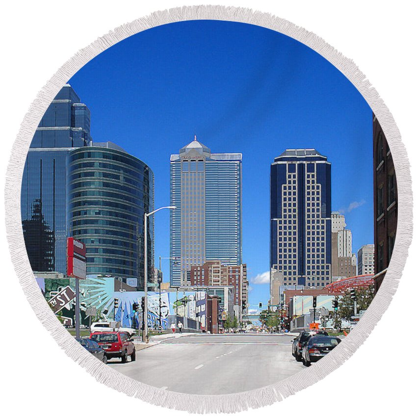 City Round Beach Towel featuring the photograph Downtown Kansas City by Steve Karol