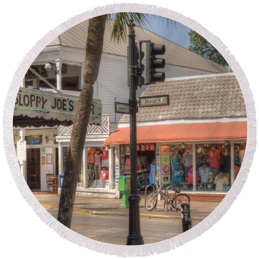 America Round Beach Towel featuring the photograph Downtown Key West by Juli Scalzi