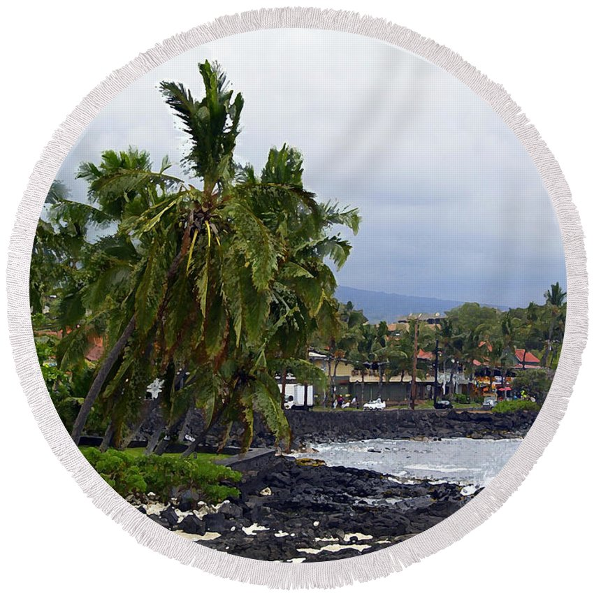 Landscape Round Beach Towel featuring the painting Downtown Kona by Athala Carole Bruckner