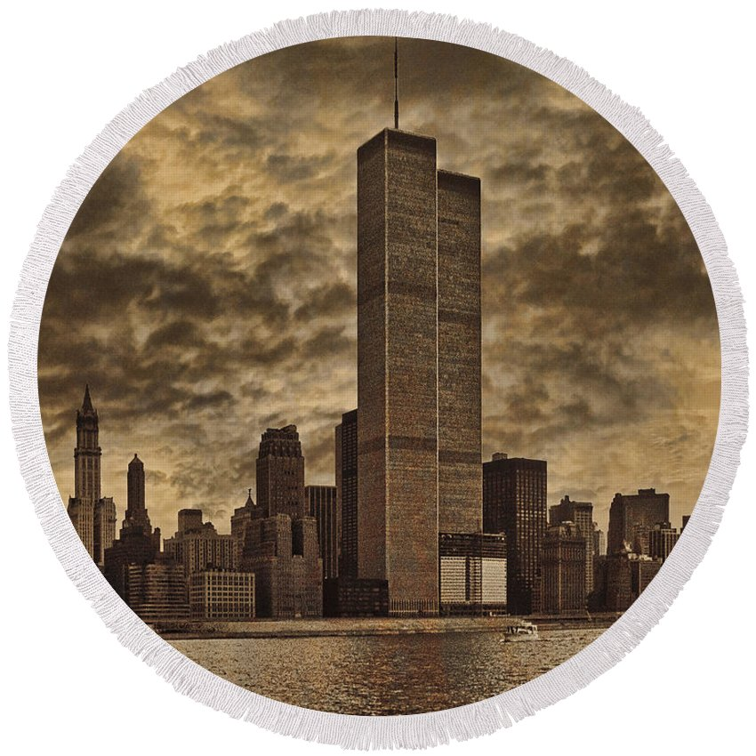Manhattan Round Beach Towel featuring the photograph Downtown Manhattan Circa Nineteen Seventy Nine by Chris Lord