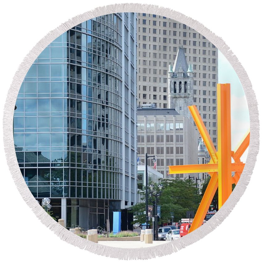 Round Beach Towel featuring the photograph Downtown Milwaukee by Crystal Davidson