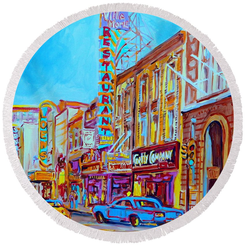 Paintings Of Montreal Round Beach Towel featuring the painting Downtown Montreal Street Rue Ste Catherine Vintage City Street With Shops And Stores Carole Spandau by Carole Spandau