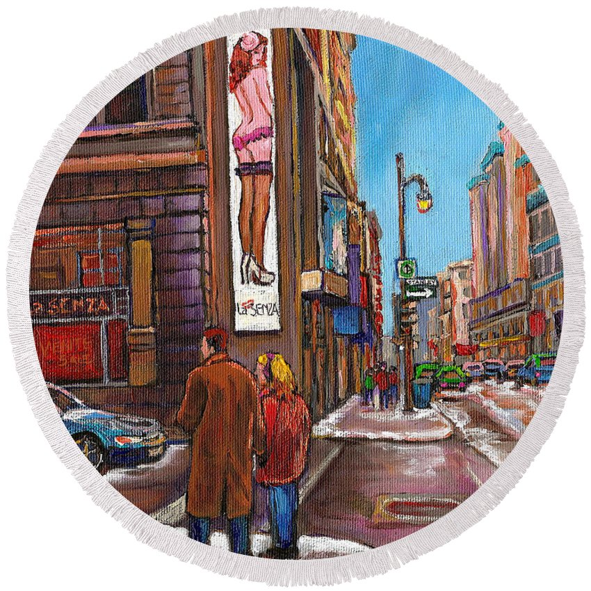 Montreal Round Beach Towel featuring the painting Downtown Montreal Streetscene At La Senza by Carole Spandau