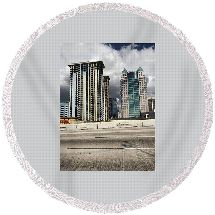 Round Beach Towel featuring the photograph Downtown Orlando, Florida by Jordan Meleski