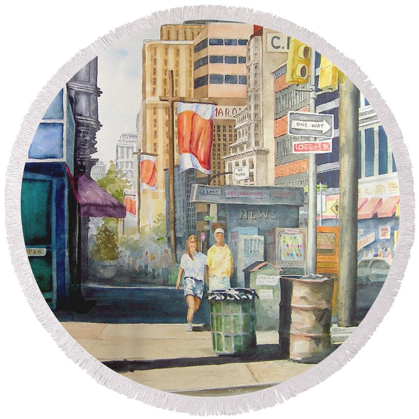 City Round Beach Towel featuring the painting Downtown by Sam Sidders