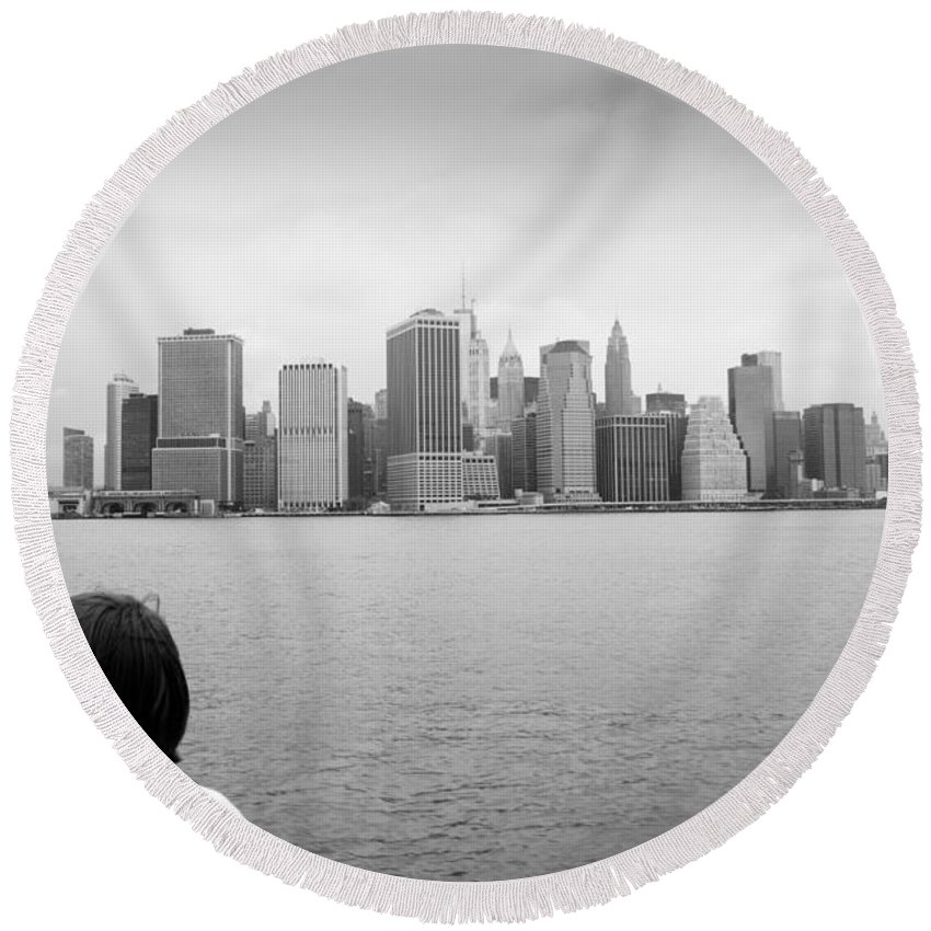Nyc Round Beach Towel featuring the photograph Downtown Views by Robert J Caputo