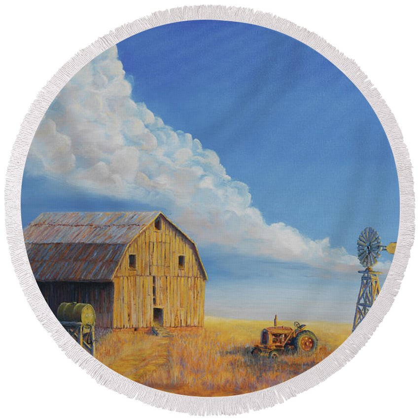 Barn Round Beach Towel featuring the painting Downtown Wyoming by Jerry McElroy
