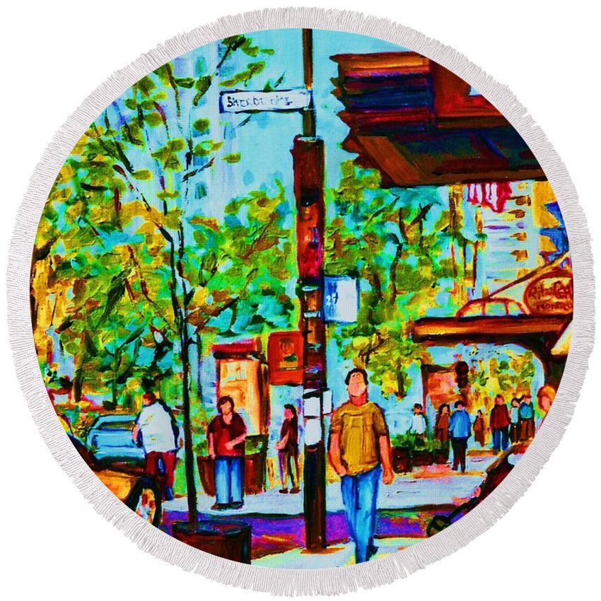 Montreal Streetscene Round Beach Towel featuring the painting Downtowns Popping by Carole Spandau