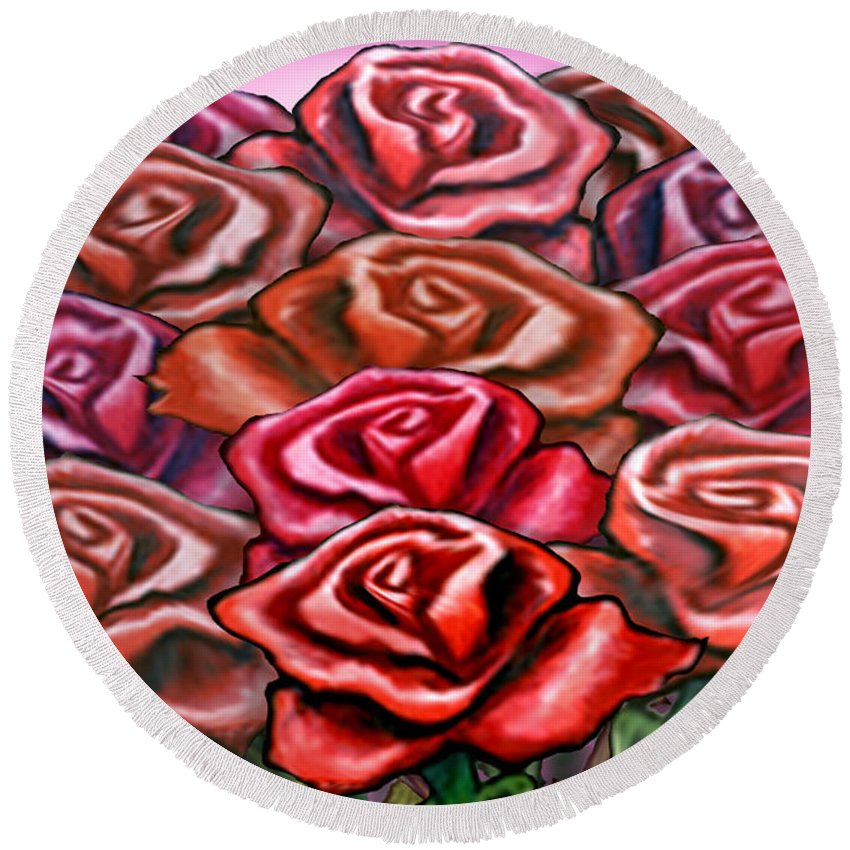 Rose Round Beach Towel featuring the painting Dozen Roses by Kevin Middleton