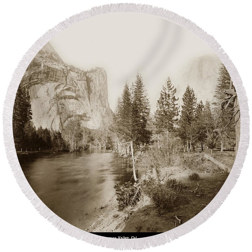 Domes And Royal Round Beach Towel featuring the photograph Domes And Royal Arches From Merced River Yosemite Valley Calif. Circa 1890 by California Views Archives Mr Pat Hathaway Archives