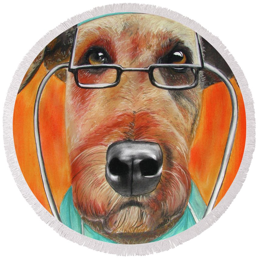 Michelle Hayden-marsan Painting Round Beach Towel featuring the painting Dr. Dog by Michelle Hayden-Marsan